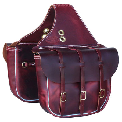 Full Size Calvary Saddle Bags in Burgundy Leather W/Brass Buckles-Atomic 79