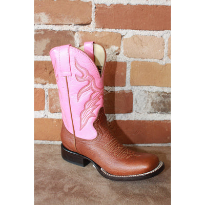 Kids Pink Leather Boots W/Brown Vamp-Atomic 79