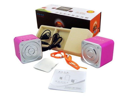 MD06C PAIR OF CUBE Aluminium Portable Travel Speaker MP3 Player AUX Line-in Laptop - GADGET EXPRESS®