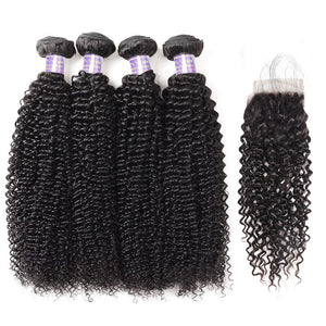 Brazilian Curly Wave 4 Bundles with Lace Closure Virgin Hair : ALLOVEHAIR