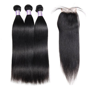 Allovehair Buy 3 Bundles Straight Hair Get 1 Free Lace Closure : ALLOVEHAIR