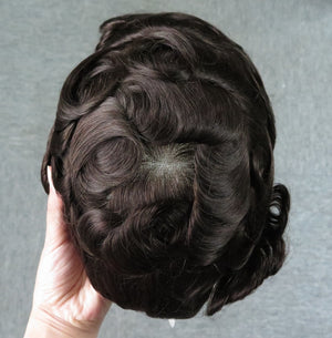 Human Hair Full Lace Front Toupee Wigs For Men Natural Front Hairline Mens Hair Pieces For Sale