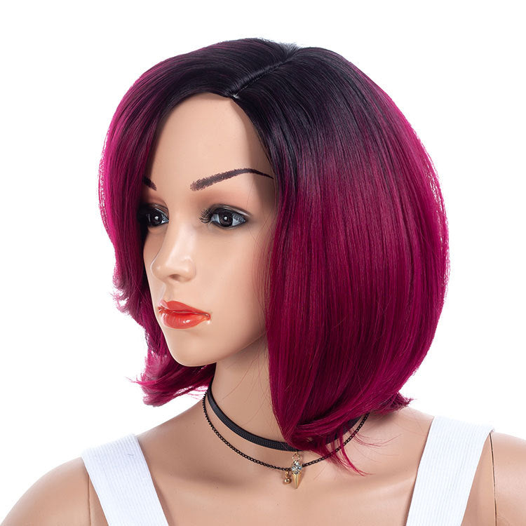 Purple-Plum-Wigs-With-Dark-Rooted-Synthetic-Hair-Medium-Bob-Wigs-For-Black-Women
