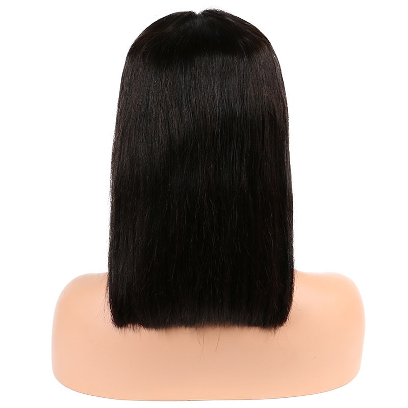 Short Straight Human Hair Bob Wigs For Women Roots Remy Brazilian Lace Front