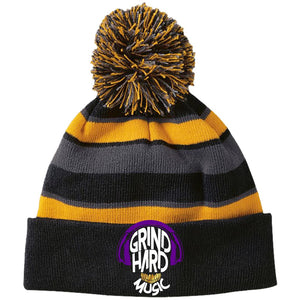 GrindHardMusic Holloway Striped Beanie with Pom