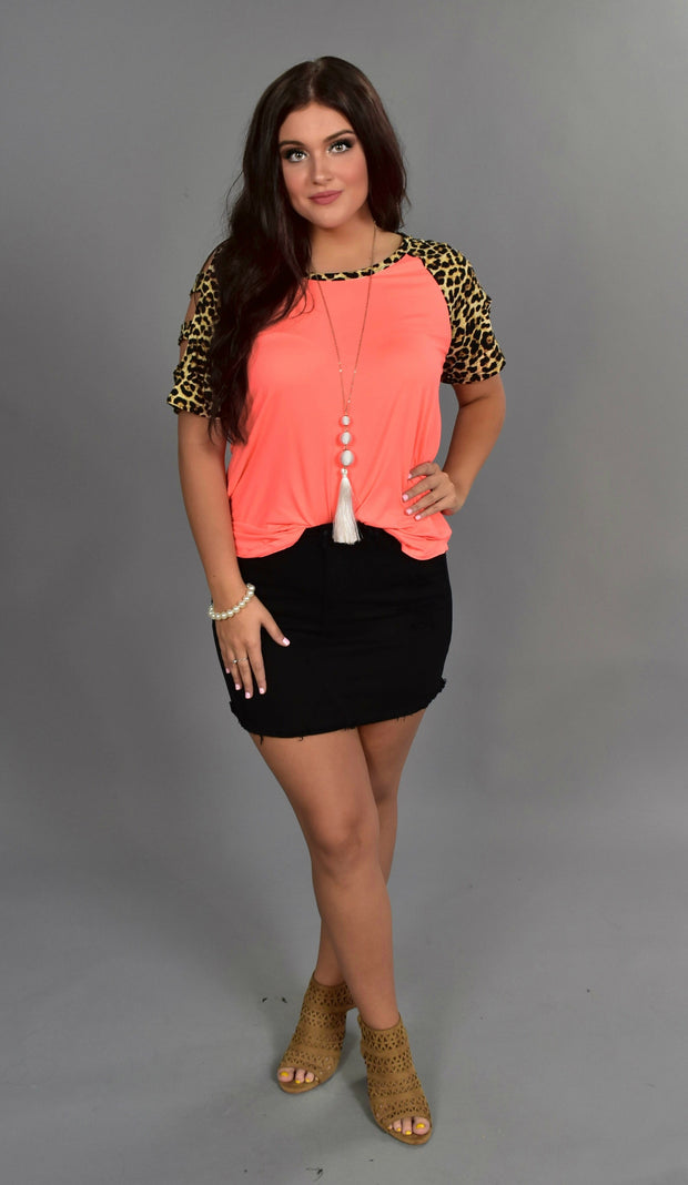 OS-L {Enjoy Yourself} Neon Coral Top with Leopard Print Detail