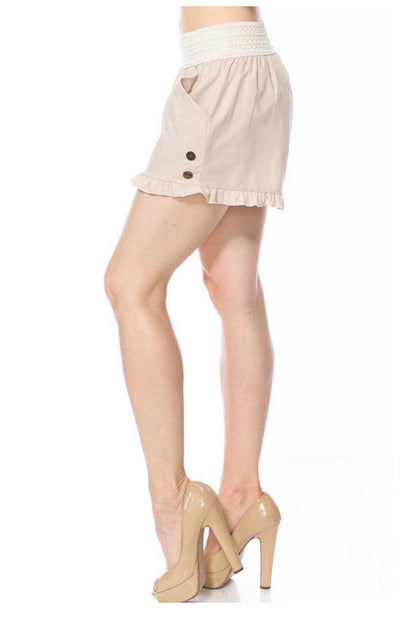 BT-P {Your Best Bet} Taupe Shorts with Elastic Band Waist