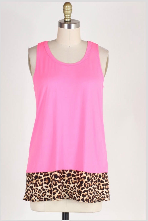 SV-M {Never Enough Summer} Neon Pink Top with Leopard Detail