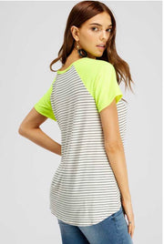 CP-B {Brighten Your Day} Neon Yellow Knot Hem Top with Stripes