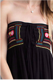 OS-K {Keeping It Sassy} Black Strapless Top with Floral Embroidery