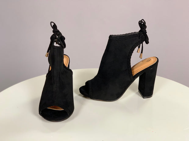 SHOES {Elegant Collection} Black Peep-Toe Booties with Heel