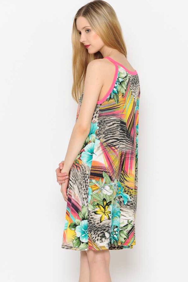 SV-D {Down At The Shore} Tropical Print Sleeveless Dress