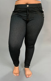 BT- U Black Jeggings with Rhinestone Button Detail