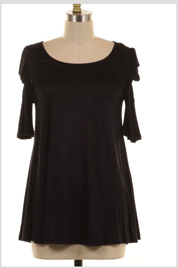 OS-F {Bring Me Home} Black Off Shoulder W/ Ruffle Detail Tunic