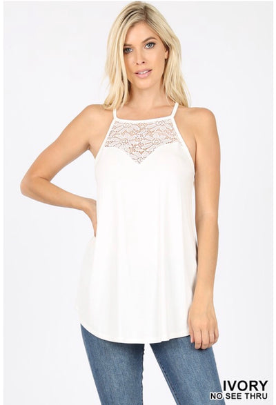 SV-O {Always Together} Ivory Sleeveless Top W/ Lace Neck Detail