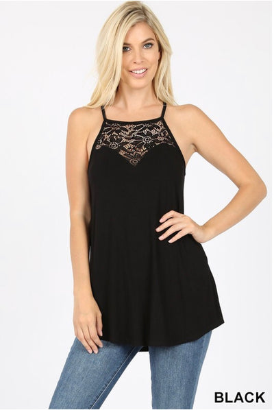 SV-M {Always Together} Black Sleeveless Top W/ Lace Neck Detail