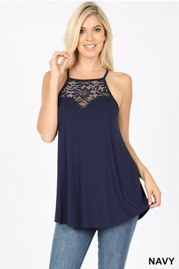 SV-M {Always Together} Navy Sleeveless Top W/ Lace Neck Detail