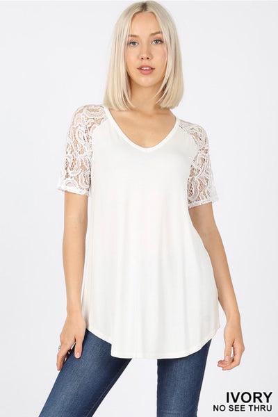 SSS-Z {Lovely As Ever} Ivory V-Neck Top W/ Lace Sleeve Detail