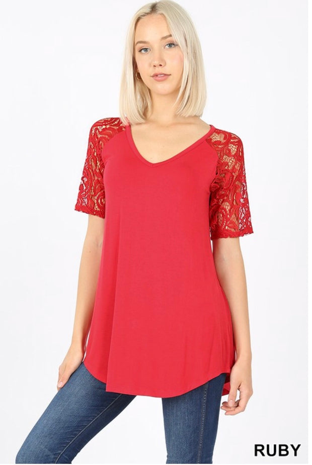 SSS-H {Lovely As Ever} Ruby V-Neck Top W/ Lace Sleeve Detail