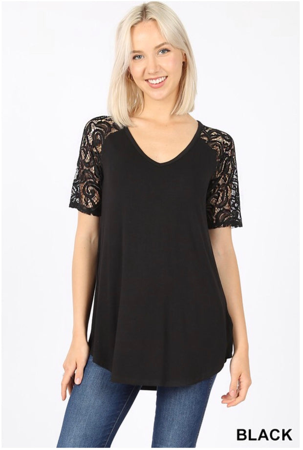 SSS-Y {Lovely As Ever} Black V-Neck Top W/ Lace Sleeve Detail