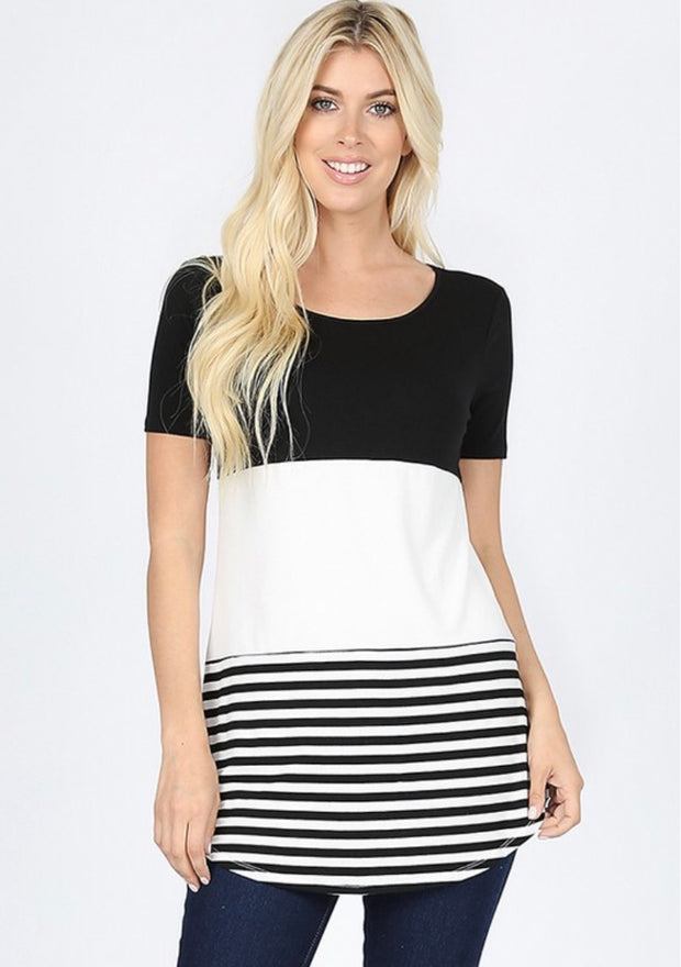 CP-B {Up & Away} Black/White Striped Contrast Tunic