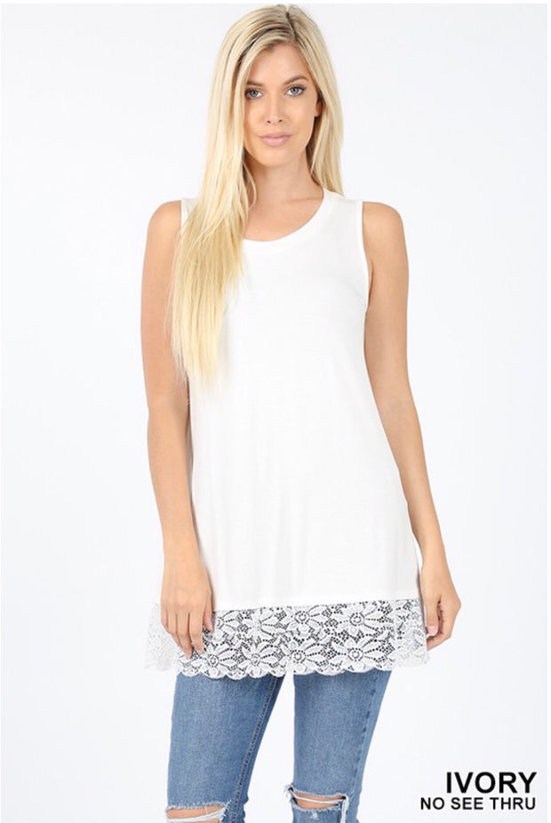 SV-P {Done Deal} Ivory Sleeveless Tunic W/ Lace Hem