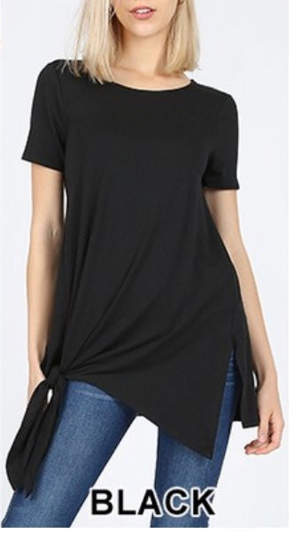 SSS-P {Free To Be Me} Black Top with Side Knot Detail