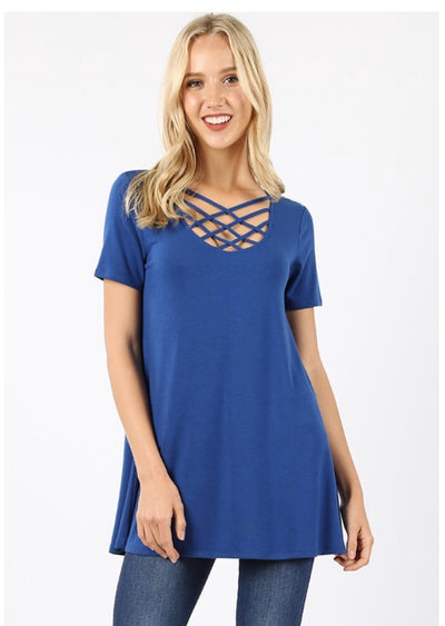 SSS-O {Simply Awesome} Blue Top with Cage Neck Detail