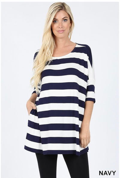 PSS-P {Strolling Along} Navy/Ivory Striped Tunic W/ Pockets
