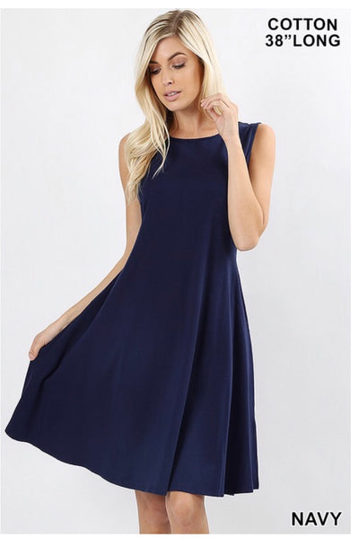 SV-M {How Can It Be} Navy Bottom Flare Dress W/ Pockets