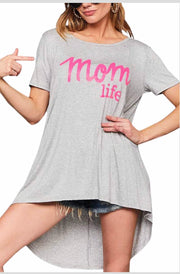 GT-B {Mom Life} Gray Hi-Lo Top with Hot Pink Letters