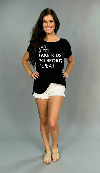 GT-R {Eat. Sleep. Take Kids To Sports. Repeat.} Black Tee