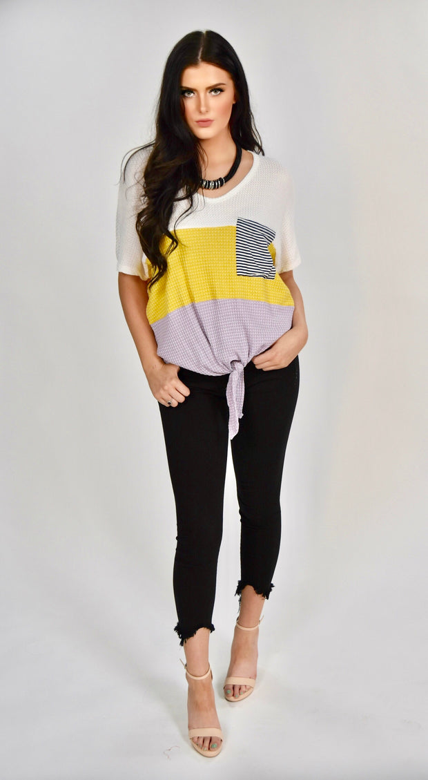 CP-L {Happy Smiles} Multi Color Waffle Knit Tunic W/ Pocket