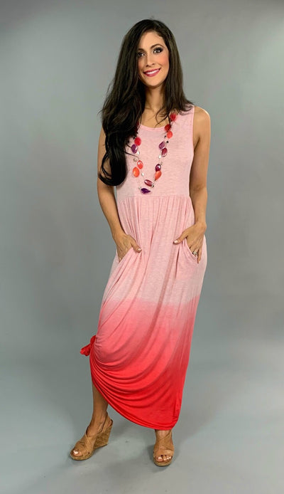 LD-C {Afternoon Delight} Sleeveless Gradient Dye Pink Maxi Dress