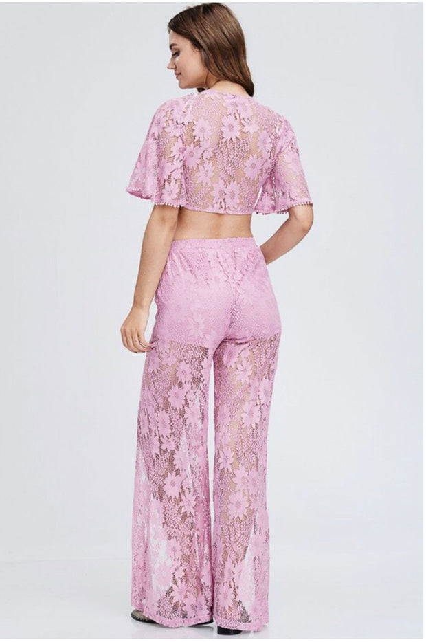 SET {Life Changing} Plum Lace Open Flare Pants with BoHo Top