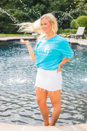 GT-B {Lake Life Is The Best Life} Turquoise V-Neck T-Shirt