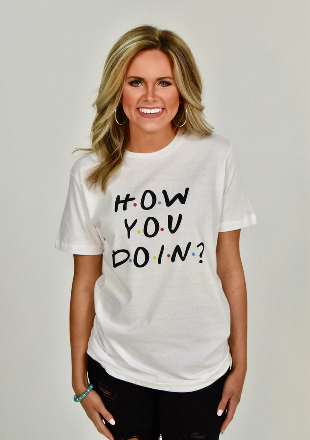 GT-I {How You Doin?} White Short-Sleeved T-Shirt