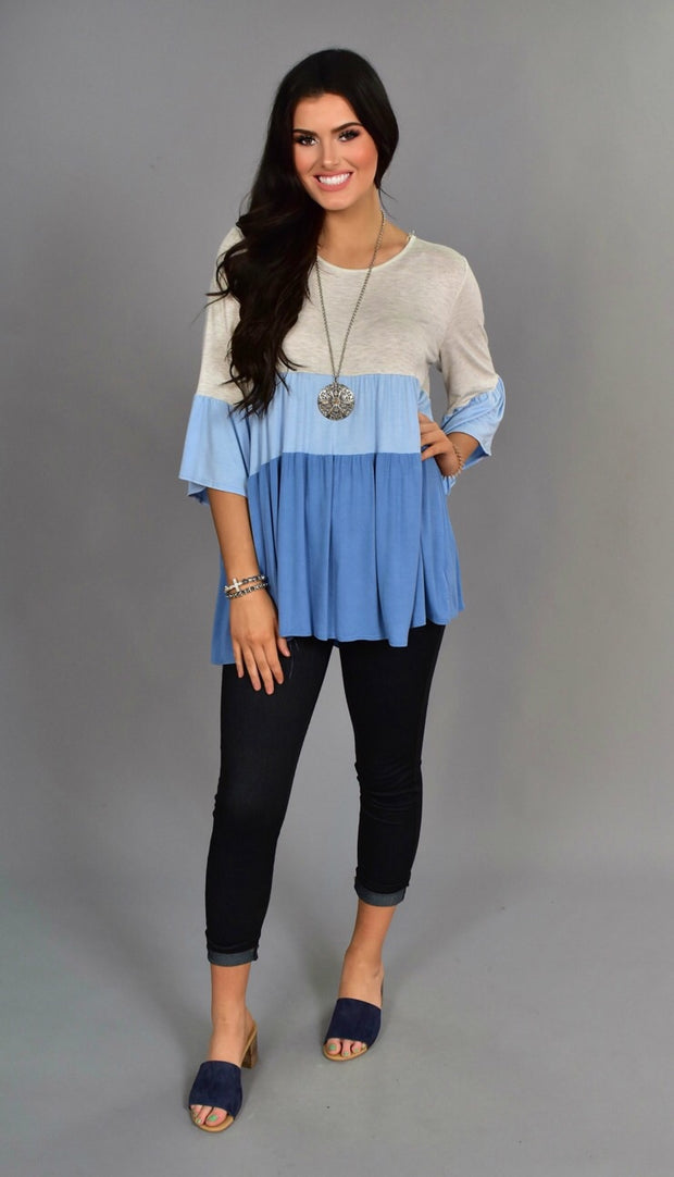 CP-E {What Kinda Gone} Spin Blue Colorblock Tunic