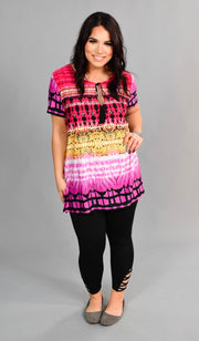 PSS-F {Me Again} Multi Color Top with Tie Detail