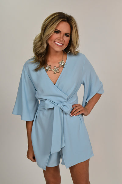 RP-B {Walk By Faith} Baby Blue Romper with Front Tie Detail