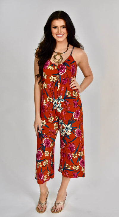 RP-E {Happy Today} Burnt Orange Floral Print Romper