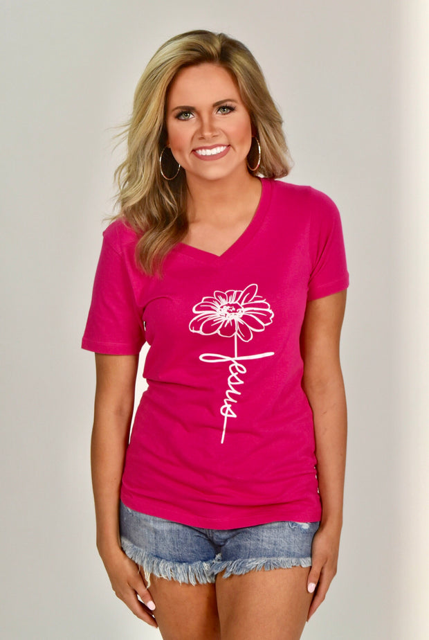 GT-J {All Mine} Fuchsia V-Neck T-Shirt with Flower/Jesus Stem