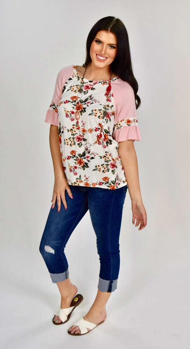 CP-A {Fresh Florals} Ivory Floral Top with Pink Sleeves