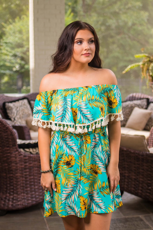 OS-E {Coasts Of Cabo} Tropical Print Dress Tassel Detail