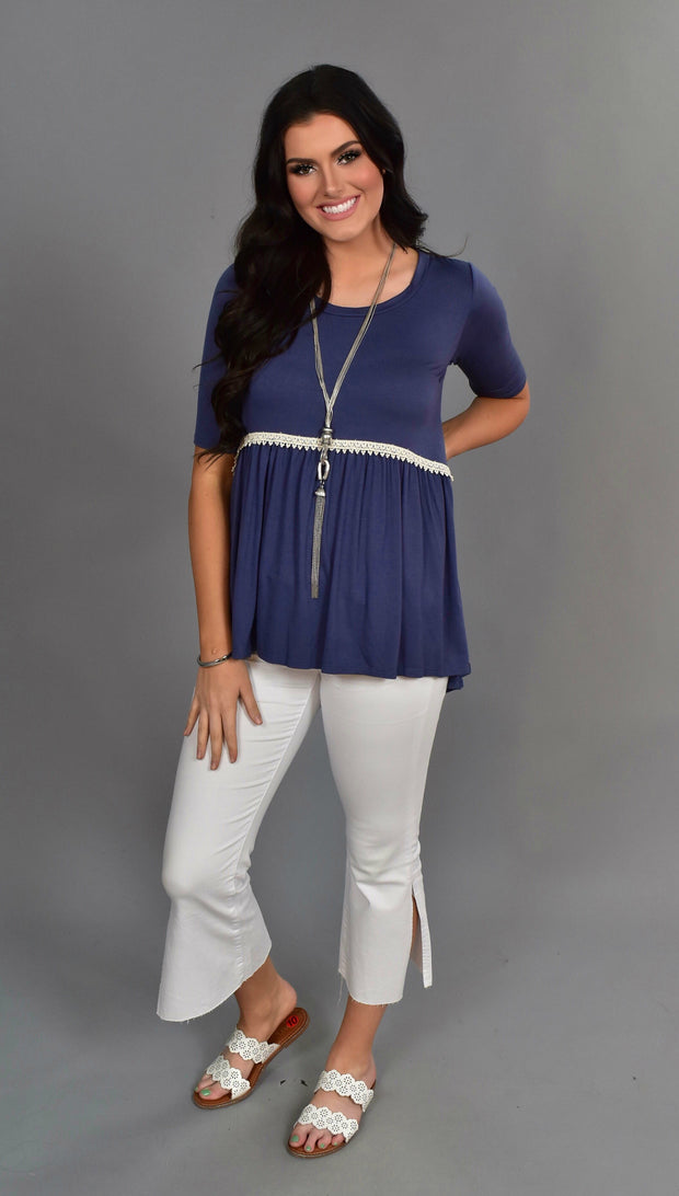 SD-L {Storybook Ending} Indigo Tunic with Crochet Detail