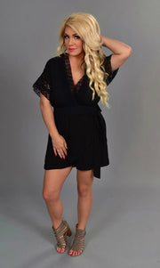 RP-N {Dressed To Kill} Black Romper with Crochet Lace Detail