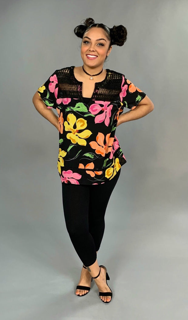 PSS-S {Tropical Tide} Black Floral Top with Crochet Detail