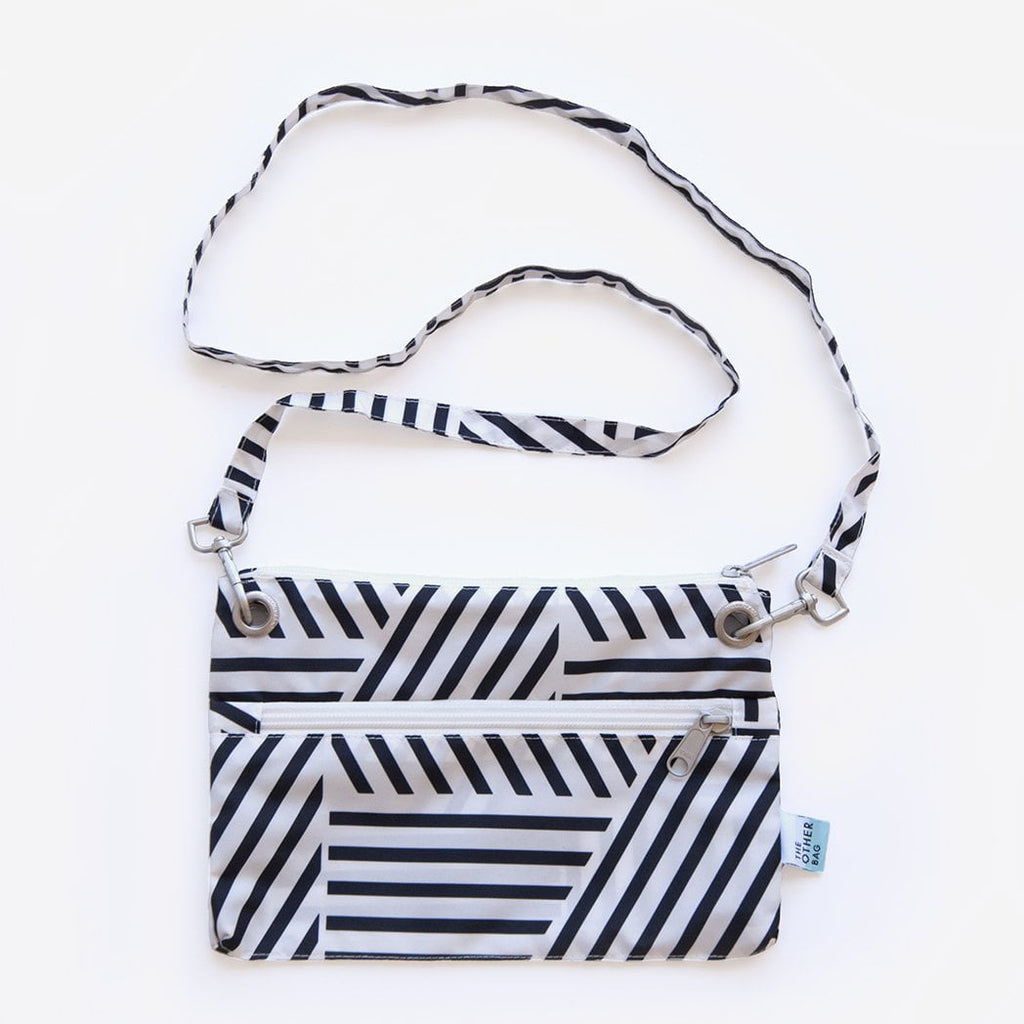 recycled plastic bottle zip pouch black and white print