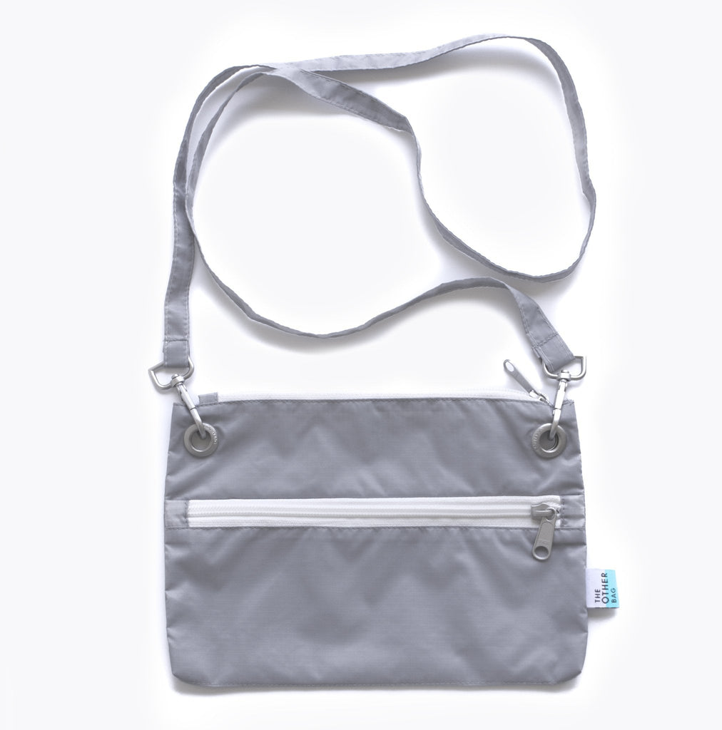 Recycled grey pouch and foldable tote bags bundle