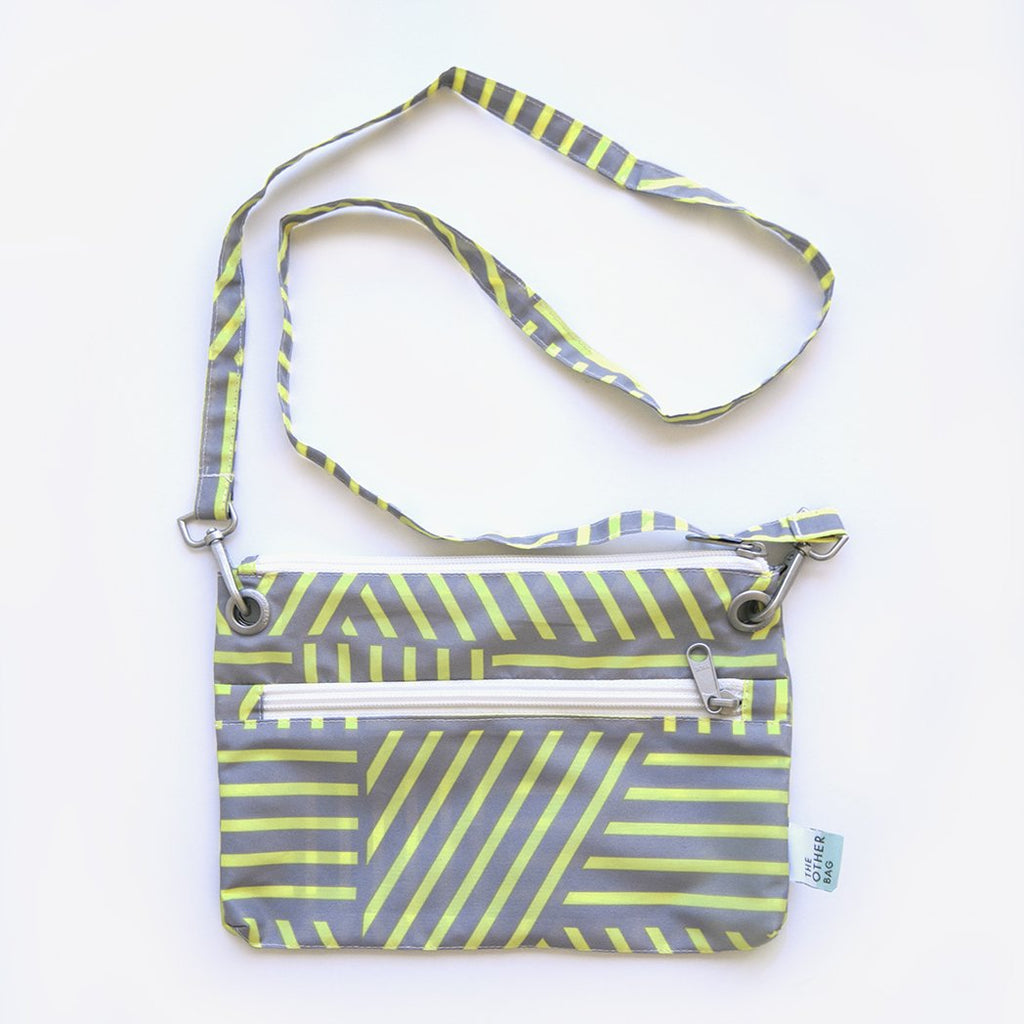 eco friendly zip pouch yellow and grey print